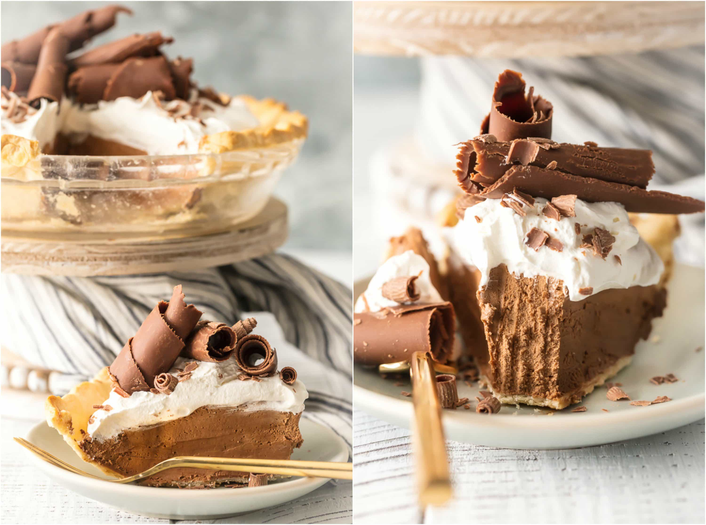 easy french silk pie recipe with piece cut out