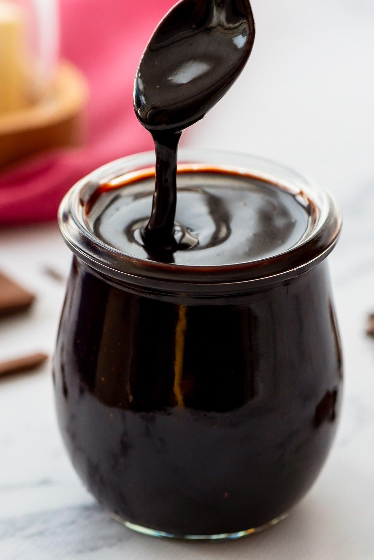 jar of hot fudge