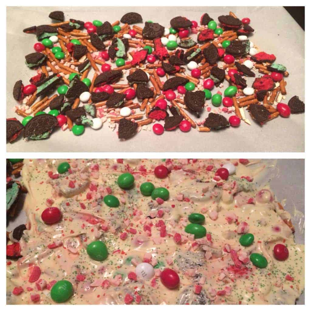 christmas bark made with white chocolate, m&ms, oreos, peppermint chips, and pretzels. this is DELICIOUS. perfect christmas snack!