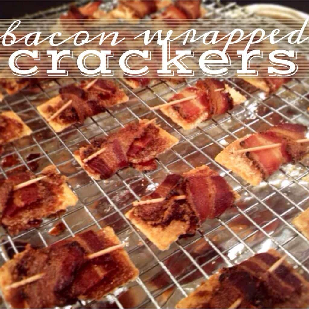 bacon wrapped crackers! baked with either brown sugar or parmesan. such a delicious appetizer to bring to holiday parties!