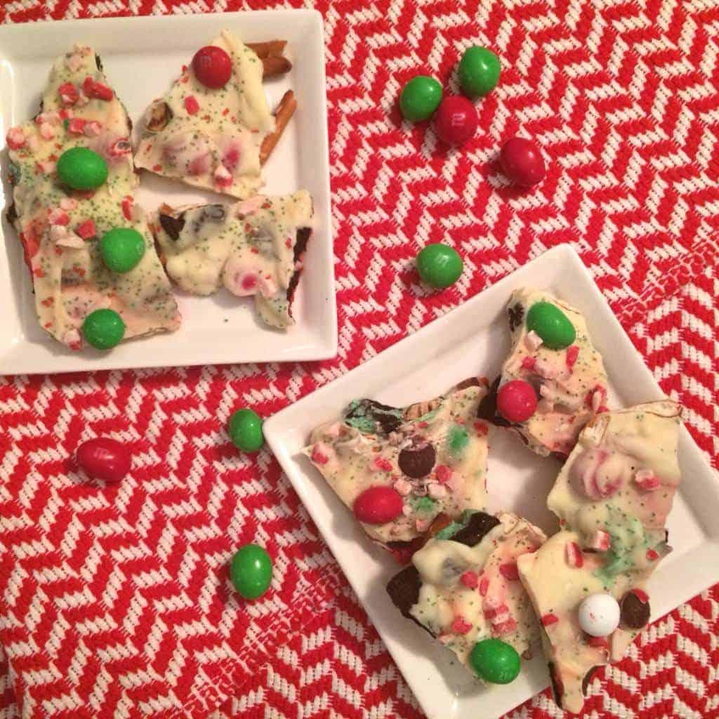christmas bark on white plates