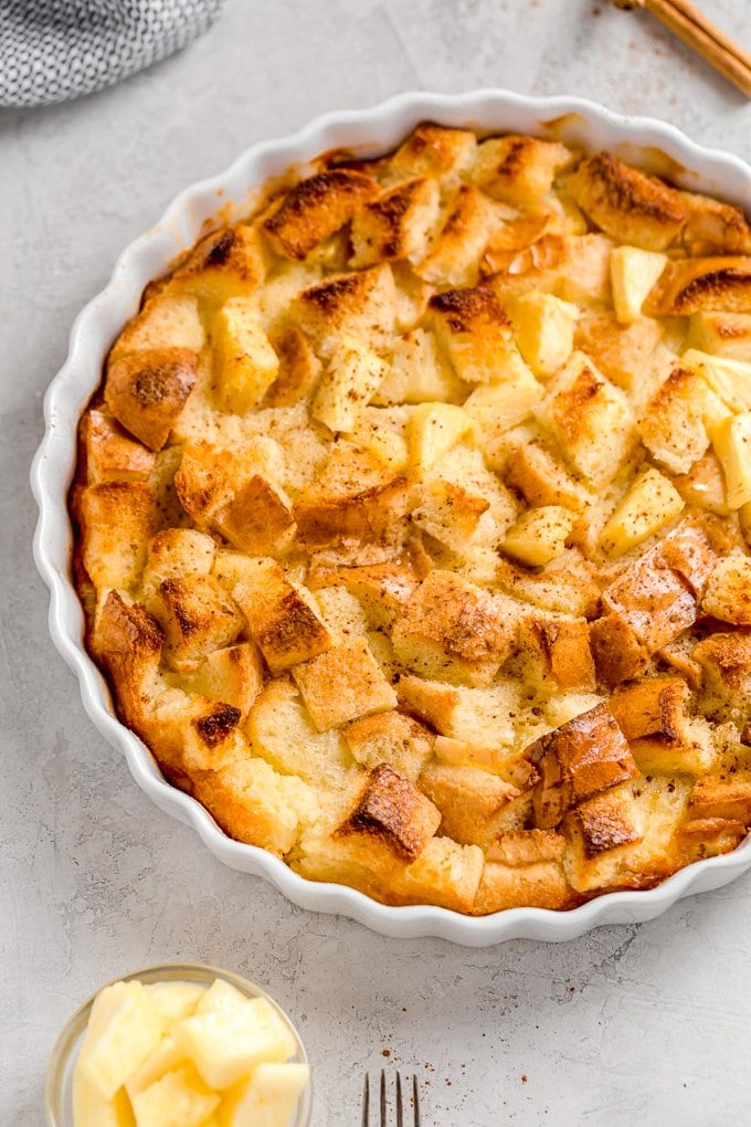 Pineapple Bread Pudding, topped with cinnamon and brown sugar.