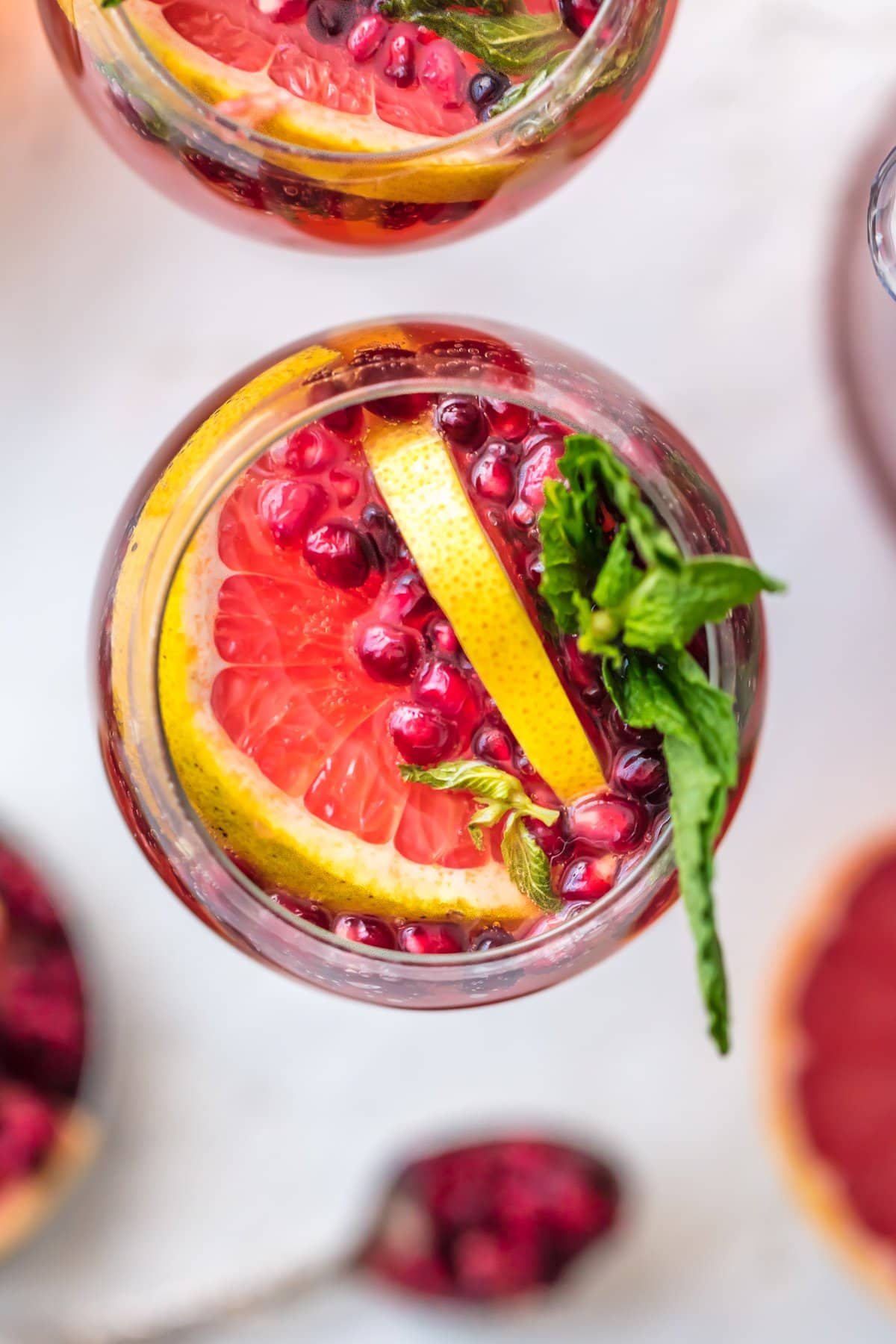 Pink Champagne Sangria with grapefruit, pomegranate, and mint