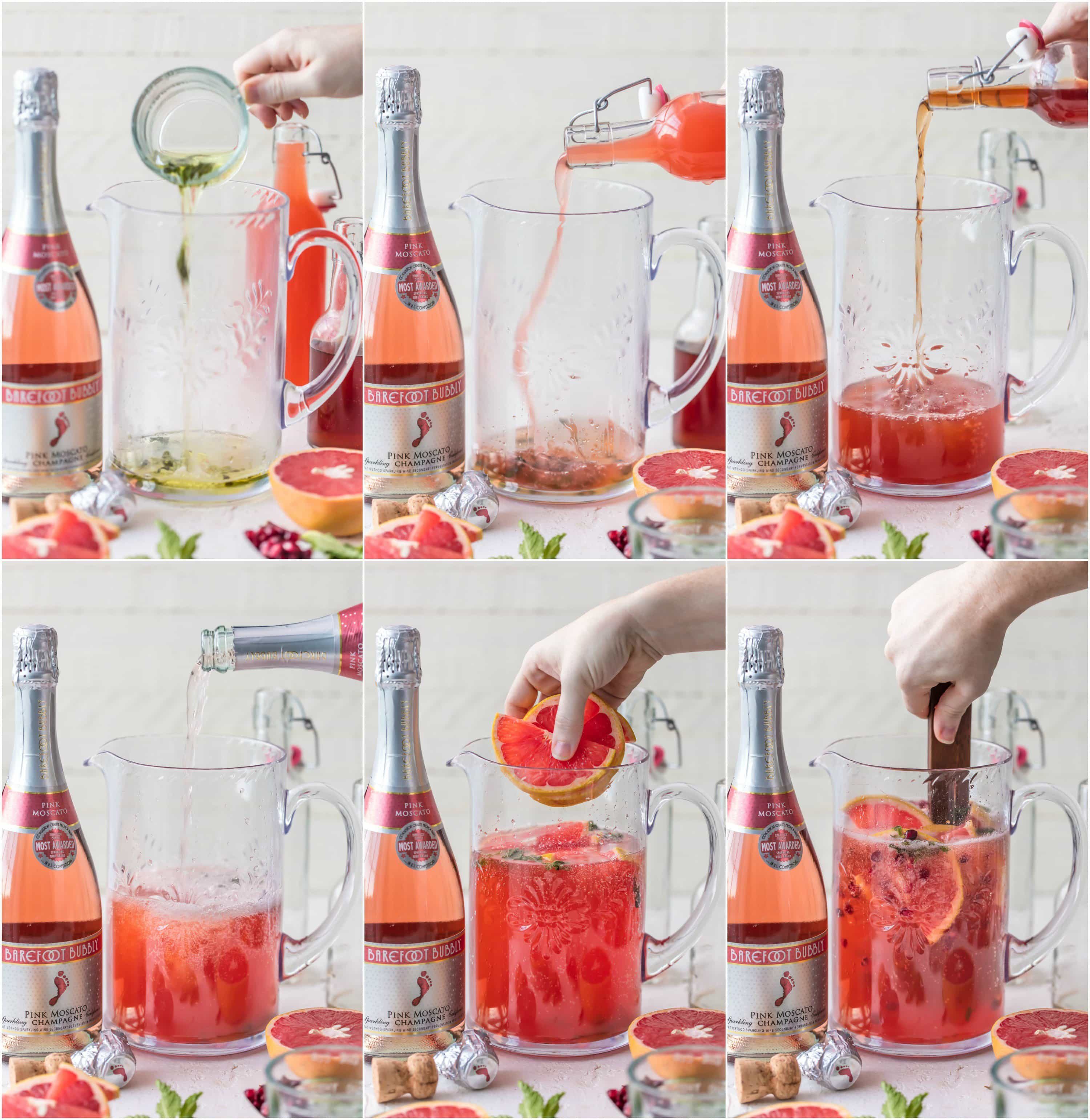 Photo Collage: How to Make Pink Champagne Sangria
