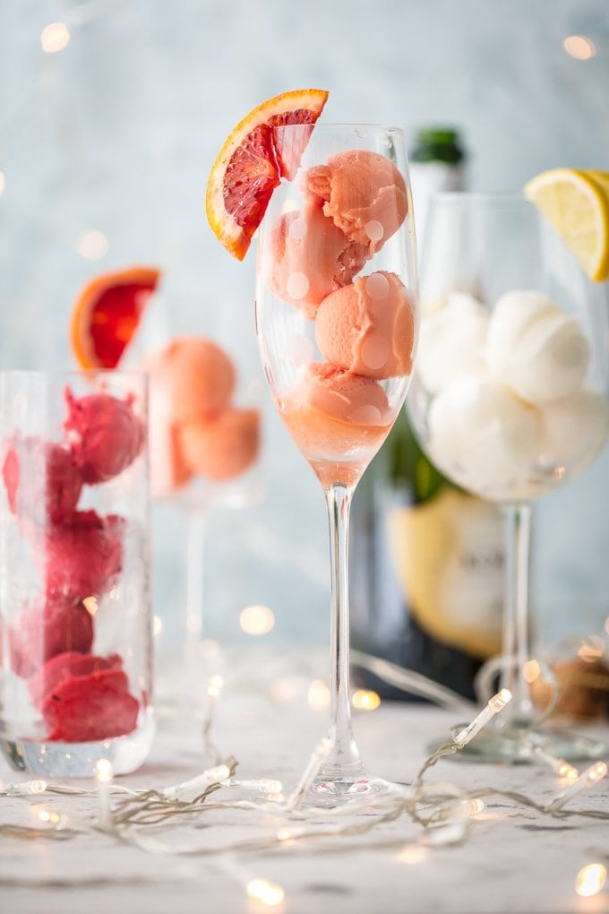 Fruit Sherbet Mimosa cocktails
