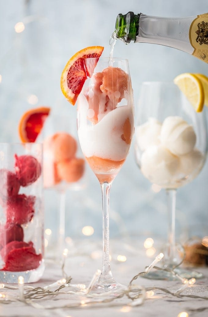 Sherbet Mimosas In Champagne Flute