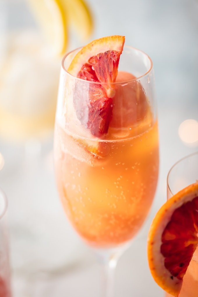 close up image of an orange sherbet mimosa cocktail garnished with a slice of blood orange