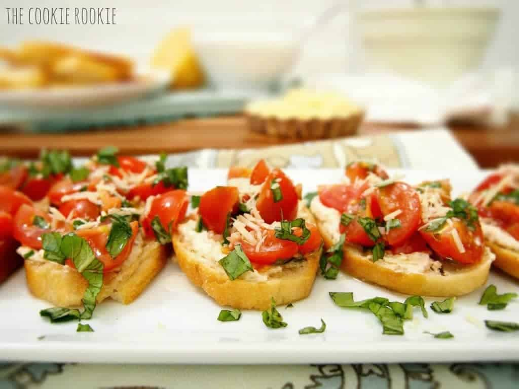 whipped feta bruschetta. delicious, fresh, and easy!