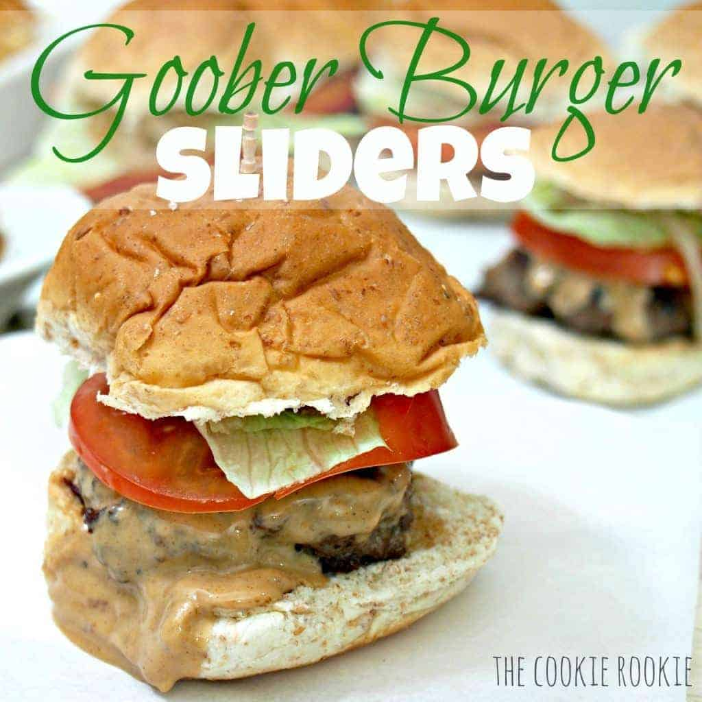 burgers topped with peanut butter, goober burgers from the wheel inn in missouri.  these are AMAZING!