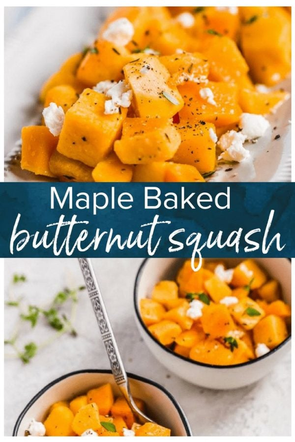 This maple-infused Baked Butternut Squash recipe is so sweet and tender. It's the perfect Thanksgiving side dish, but just as good any night of the year!
