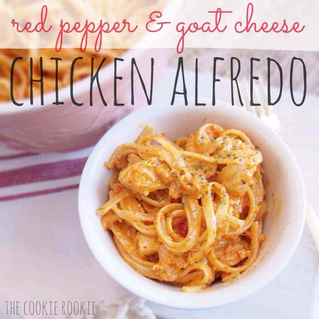 red pepper and goat cheese chicken alfredo. this is an easy family favorite from www.thecookierookie.com