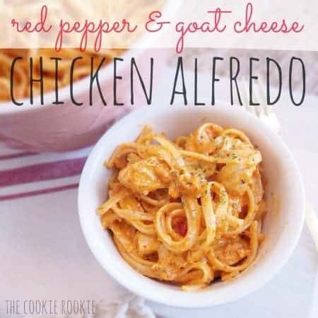 red pepper & goat cheese chicken alfredo