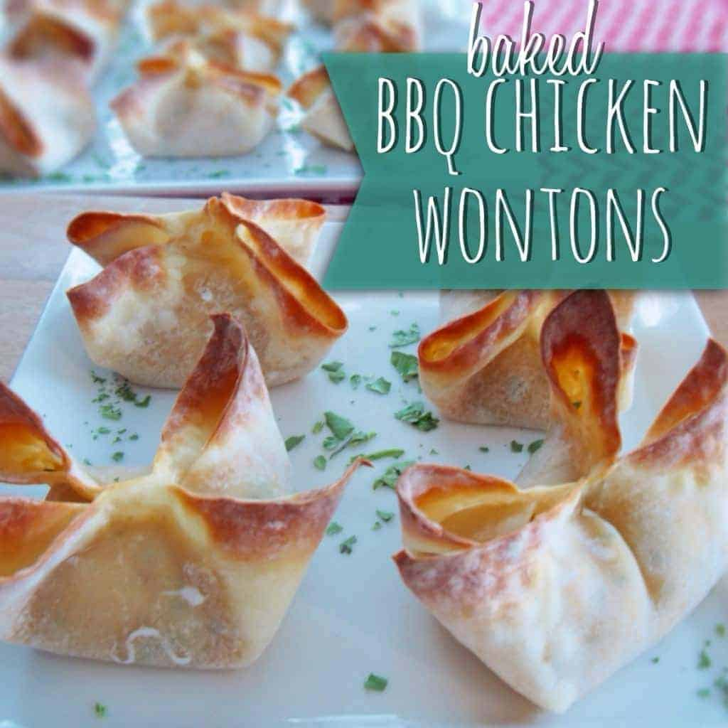 BAKED bbq chicken wontons!! guilt-free and delicious.
