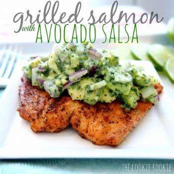 Grilled Salmon Recipe with Avocado Salsa (Healthy Whole30 Salmon Recipe!) is the BEST Salmon Recipe and just happens to be Whole30 approved! Spice rubbed Grilled Salmon topped with a creamy Avocado Salsa is one of the best Whole30 Recipes you'll ever try. Healthy, flavorful, EASY, and so delicious
