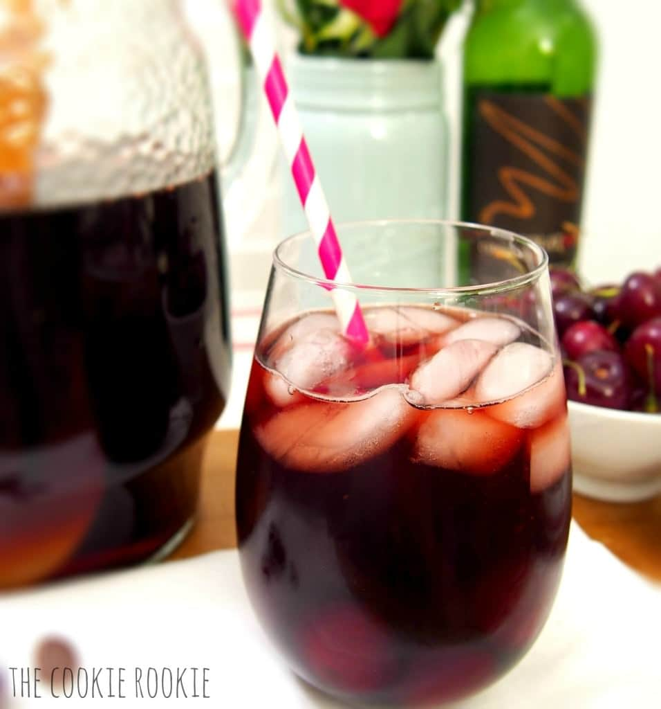 Chocolate Covered Cherry Sangria...perfect for Valentines day!! Dessert in a wine glass :)