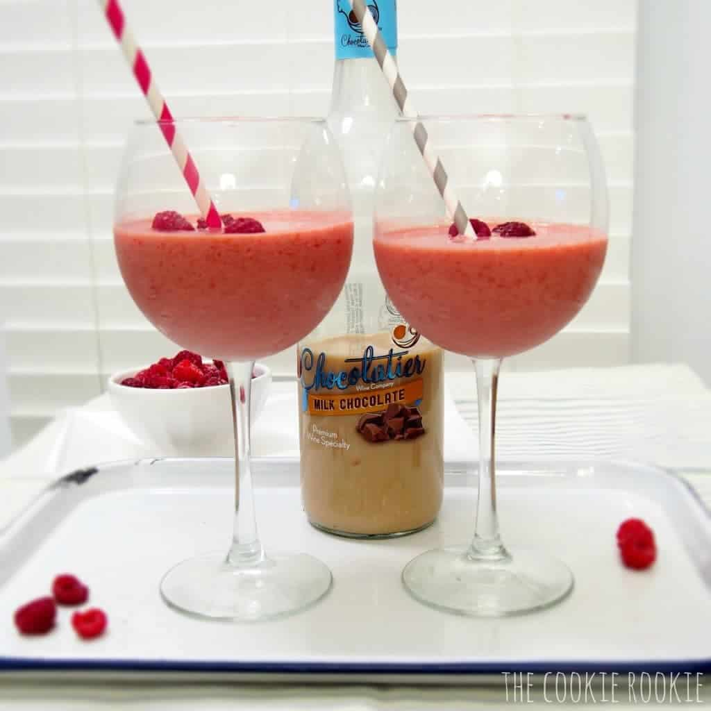 raspberry chocolate wine smoothie. YES. frozen fruit and wine. happy vday to me!