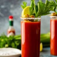 bloody mary in glass with salted rim and garnishes