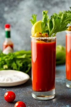 bloody mary in a tall glass with garnishes
