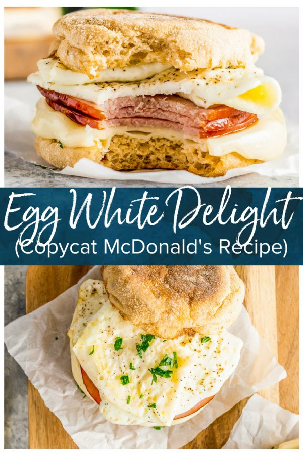 This Egg White Delight Recipe is my favorite Mcdonald's Copycat Recipe! When I used to work in an office, I ate a McDonald's Egg White Delight almost every morning. I'm so glad I've found a healthy & easy breakfast sandwich recipe that I can make at home instead. This delicious sandwich consists of an English Muffin with ham, white cheddar, egg whites, and herbs. Totally delicious!