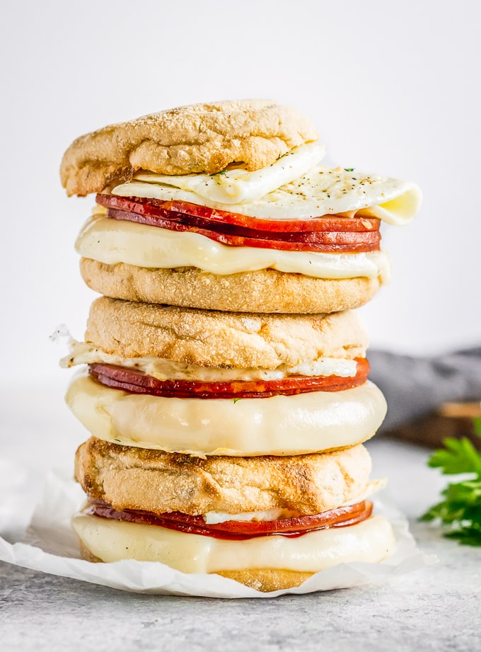 egg white delight sandwiches stacked