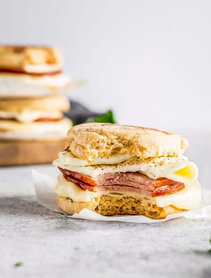 egg white delight ham egg and cheese breakfast sandwich