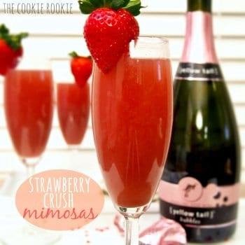 strawberry mimosas and a champagne bottle