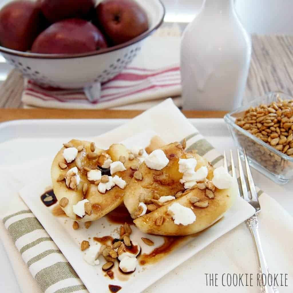 strawberry balsamic glazed pears with honey goat cheese. HEAVEN. so easy and healthy too!