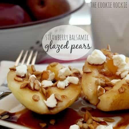 {weekend slimdown} strawberry balsamic glazed pears