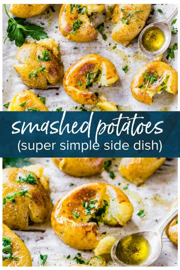 This Smashed Potatoes Recipe is a fun little side dish. They're nice and soft with just a little bit of crispy coating from the skin. I love using baby potatoes for these smash potatoes because they're the perfect size. Smashed Baby Potatoes are like a mix between fries and mini baked potatoes...or somewhere in between! They are just so tasty!