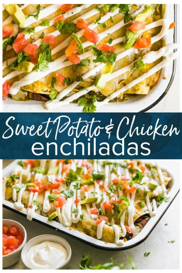 CHICKEN AND SWEET POTATO ENCHILADAS are a healthy and delicious way to enjoy Mexican night! We love these tasty sweet potato black bean enchiladas and make them on the regular. This Chicken and Sweet Potato recipe is filled with vegetables and all kinds of good stuff. They are definitely a new favorite!