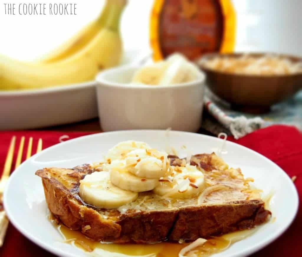 coconut & ginger french toast, topped with bananas and maple syrup. HEAVEN.