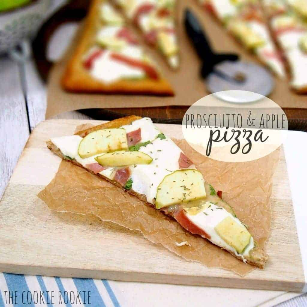 Prosciutto and Apple Pizza with Rosemary Honey Dijon sauce. Delicious! {The Cookie Rookie}
