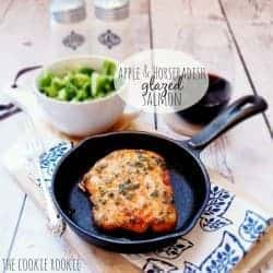 This glazed salmon recipe is so unique and so delicious! Apple and Horseradish Salmon is an easy baked salmon recipe that can be made in minutes for any night of the week. The apple jelly and horseradish salmon glaze recipe is so tasty, and it really gives the salmon a kick of flavor!