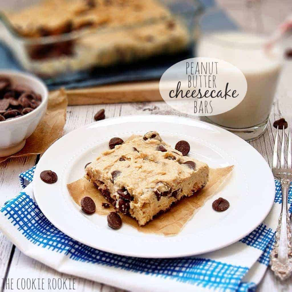 No Bake Peanut Butter and Chocolate Chip Cheesecake Bars The ...