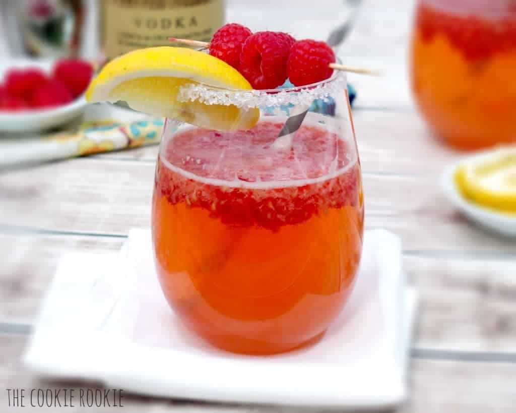 side shot of raspberry cocktail