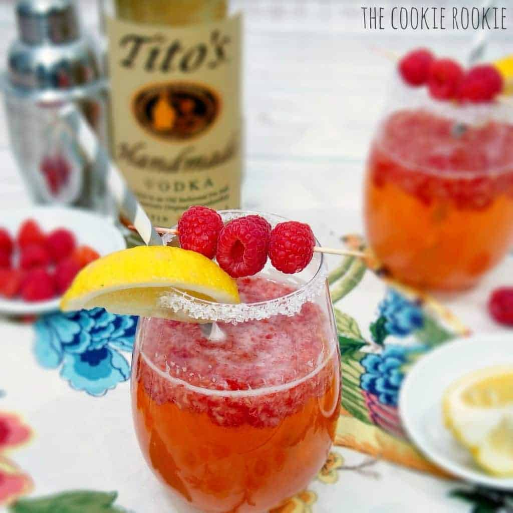 Ginger Raspberry Crush Cocktail. Fun and fruity favorite. {The Cookie Rookie}