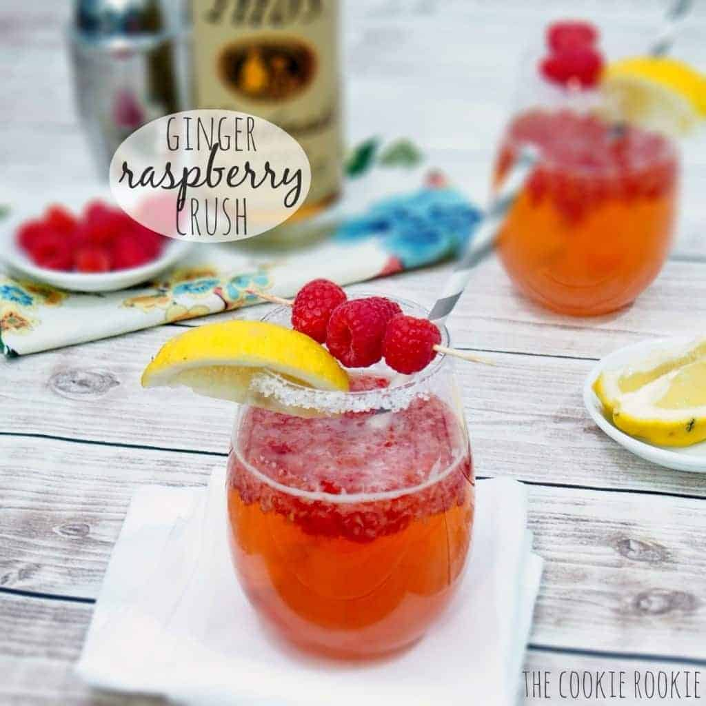 raspberry cocktail in glasses