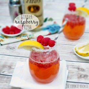 ginger raspberry crush garnished with lemon and raspberry
