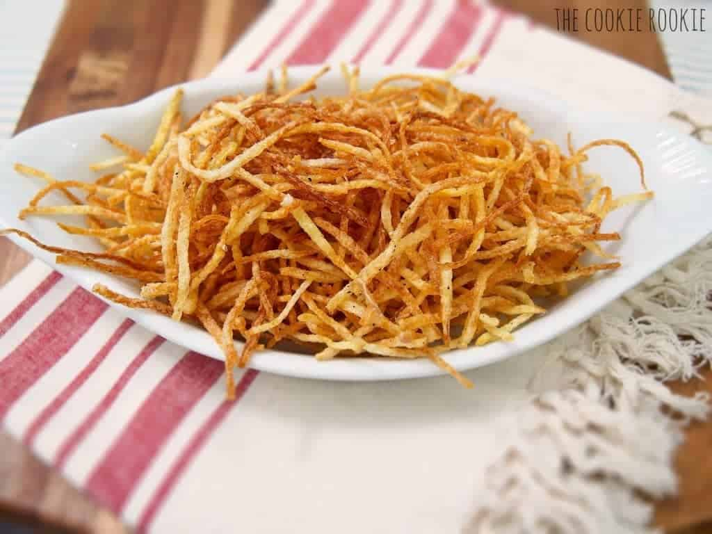 Shoestring Potatoes...my favorite side dish for casual meals!! These fries are delicious and simple.