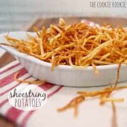 Shoestring Potatoes, AKA Shoestring Fries, are a delicious and versatile side dish perfect for any and every meal! Julienne Friesare thinly sliced potatoes deep fried to perfection. So thin and crispy! If you've ever wondered how to make Shoestring Fries, today is your lucky day.