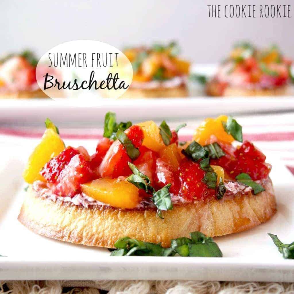 Summer Fruit Bruschetta with Strawberries, Peaches, Basil, Raspberry White Balsamic, and Goat Cheese.  YUM!