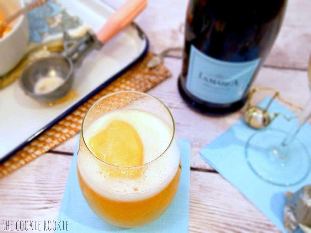 La Marca Peach Prosecco Fizz. Peach Sorbet with Prosecco! Delicious and refreshing. {The Cookie Rookie}