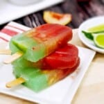 Layered Margarita Popsicles with Strawberry, White Peach, and Lime Margaritas!! Cinco de Mayo! {The Cookie Rookie}