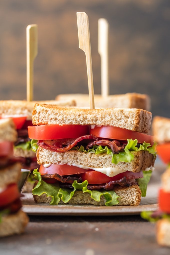 close up image of blt sandwich on a plate