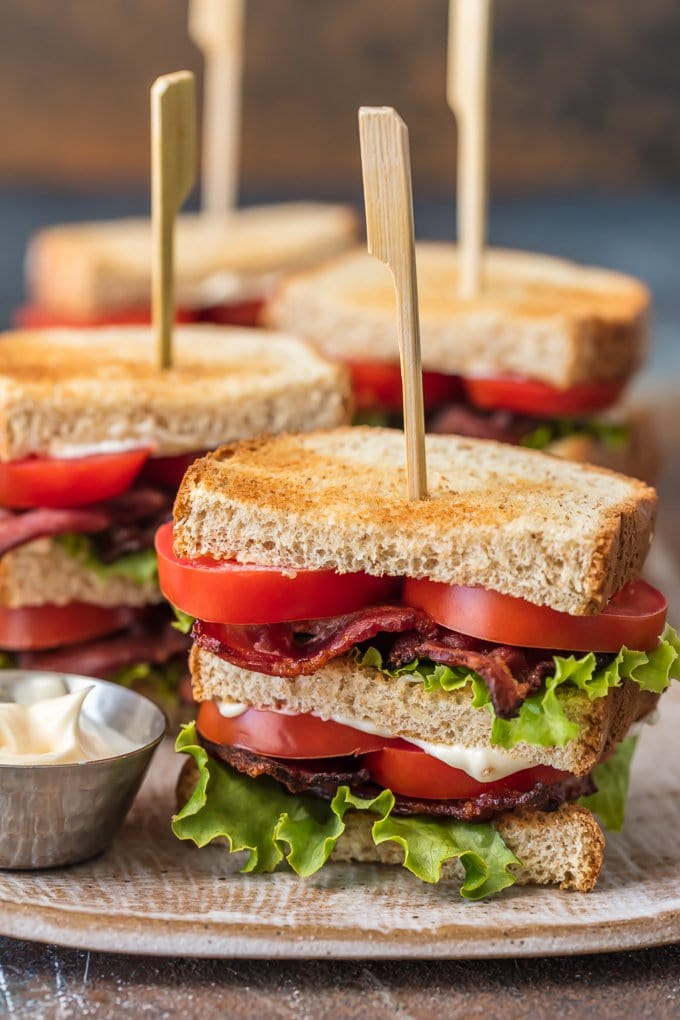several blt sliders on a plate