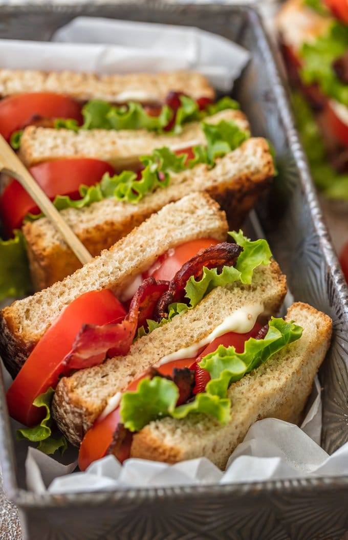 BLT Sandwich Sliders in a pan