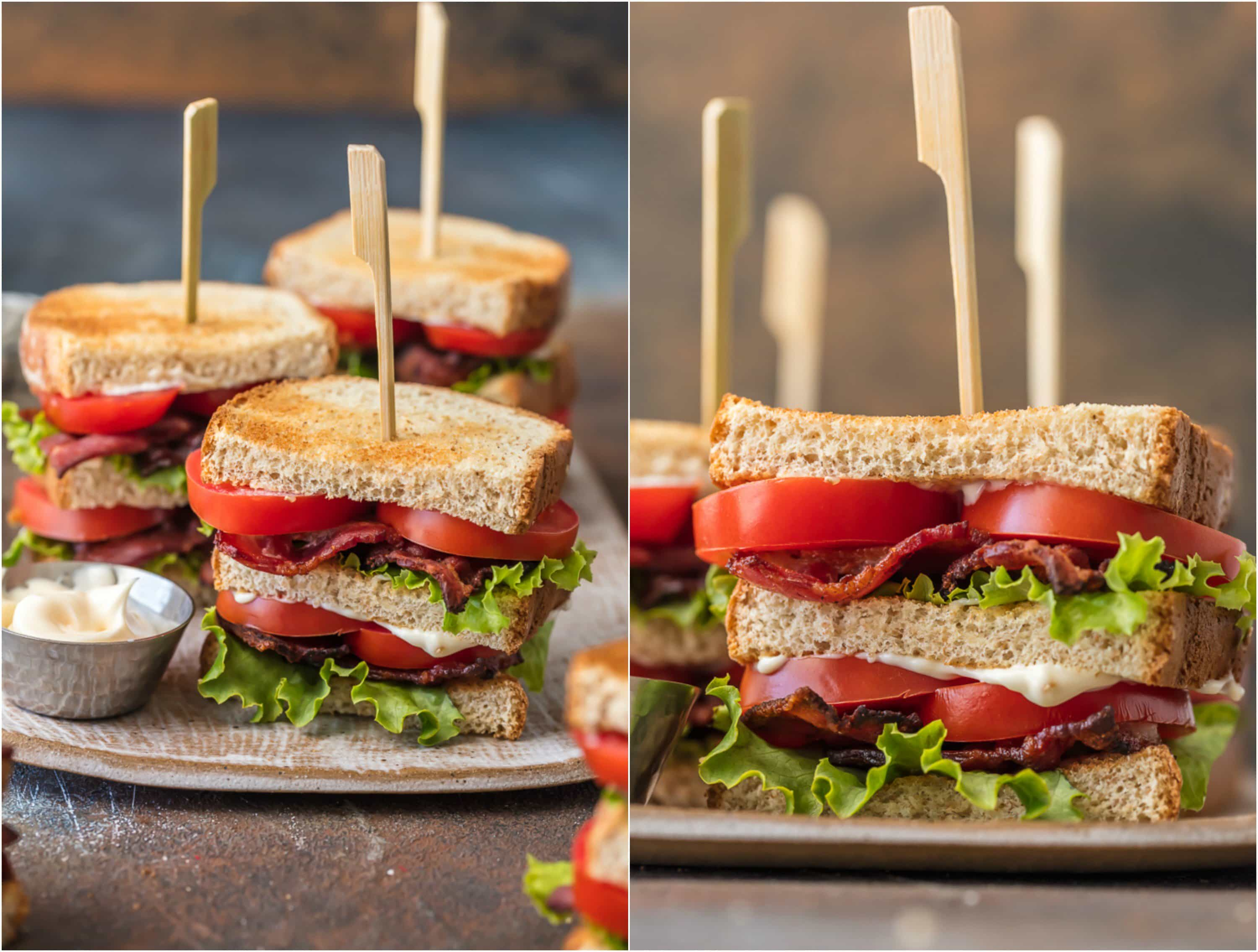 blt sandwiches on a plate with mayo