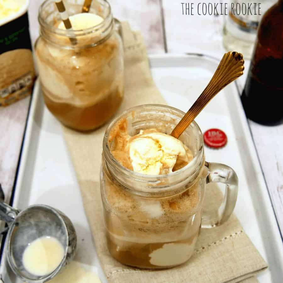 View of two Adult Root Beer Floats