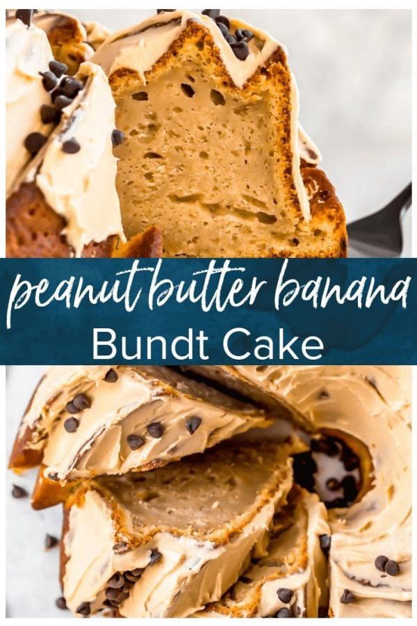 Peanut Butter Banana Bundt Cake is the most perfect cake recipe ever. Peanut butter and banana is one of those classic flavor combinations you just can't beat, and when you add peanut butter icing and mini chocolate chips into the equation, YUM! This peanut butter banana pudding cake is great for any occasion, and easy enough for new bakers.