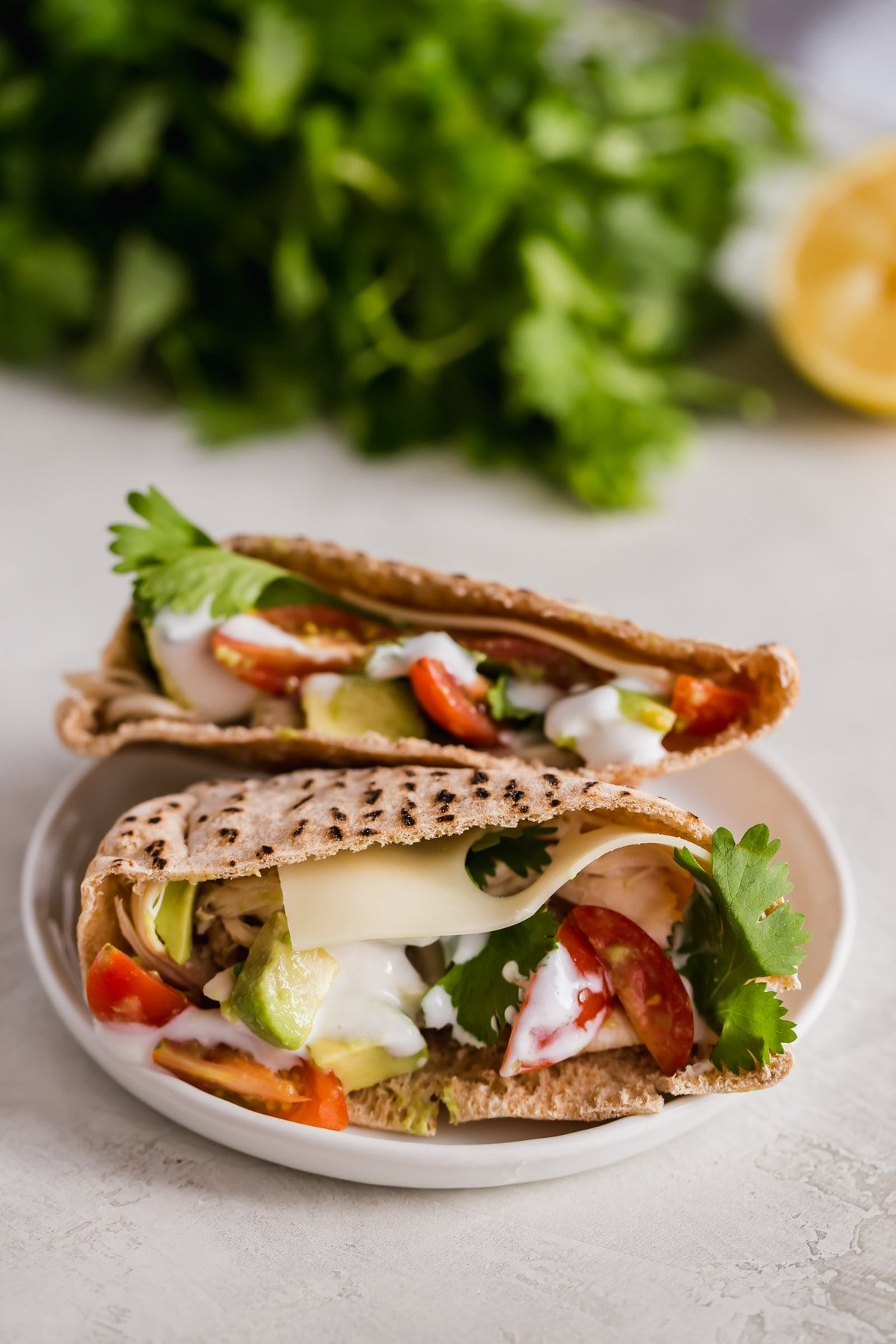 healthy chicken pitas with tomatoes, avocado, cheese, and cilantro